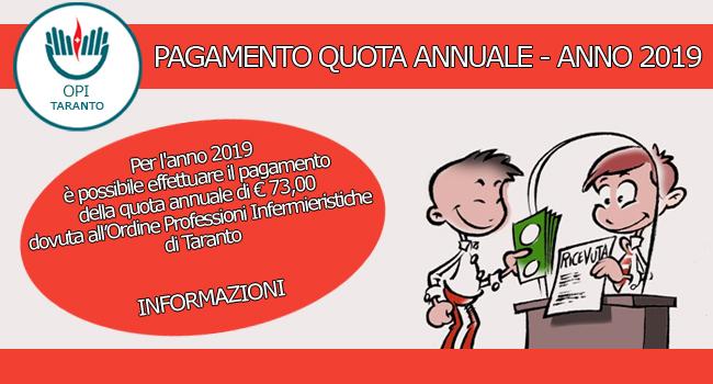 Pagamento quota annuale dovuta all'Ordine Professioni Infermieristiche di Taranto per l'anno 2019