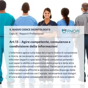 """Articolo 13 """"Agire competente, consulenza e condivisione delle informazioni"""""""