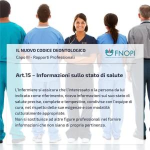 """Articolo 15 """"Informazioni sullo stato di salute """""""