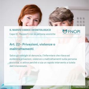 """Articolo 22 """"Privazioni, violenza o maltrattamenti"""""""