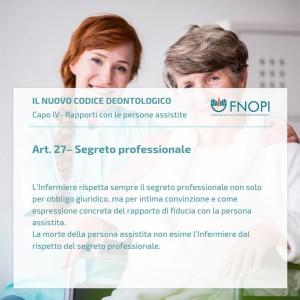 """Articolo 27 """"Segreto professionale"""""""