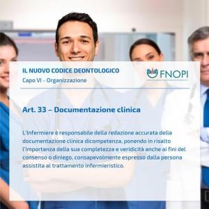 """Articolo 33 """"Documentazione clinica"""""""