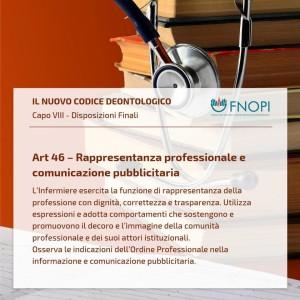 """Articolo 46 """"Rappresentanza professionale e comunicazione pubblicitaria"""""""