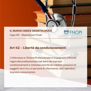 """Articolo 42 """"Libertà da condizionamenti"""""""
