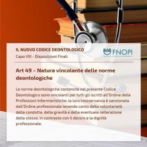 """Art. 49 """"Natura vincolante delle norme deontologiche"""""""